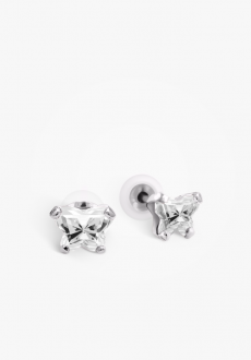 Boucles d'oreilles or blanc 10k, attaches silicones
