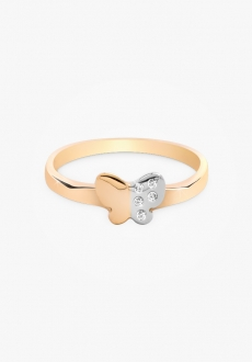 Bague en or 14k, demi-diamants