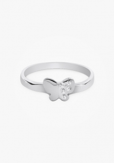 Bague en or blanc 14k, demi-diamants