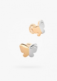 10k two tones gold earrings, one zirconia