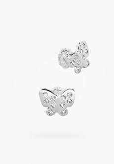 10k white gold stud earrings, full zirconia