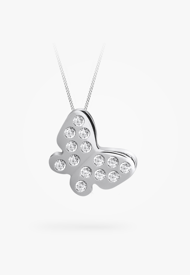 Pendentif en or blanc 14k, diamants
